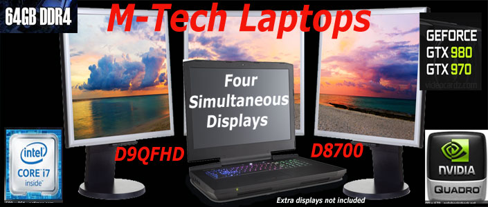 M-Tech Laptops D8700 is the best gaming laptop computer made with Intel desktop CPU